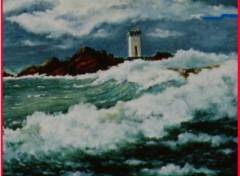 Fonds d'écran Art - Peinture Phare breton dans la tempête