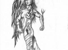 Wallpapers Art - Pencil femme ange tatouée