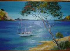 Wallpapers Art - Painting Plage et bateau