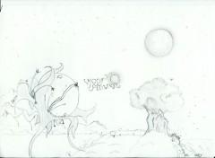 Fonds d'écran Art - Crayon Moon Flower
