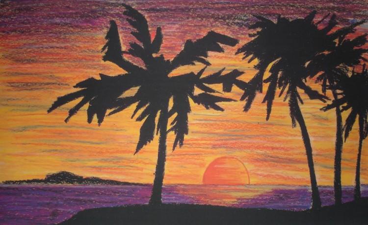 Fonds d 39 cran art crayon fonds d 39 cran paysages - Dessin coucher de soleil ...