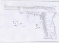 Fonds d'écran Art - Crayon Pistolet Walther P38 - 9mm 8coups