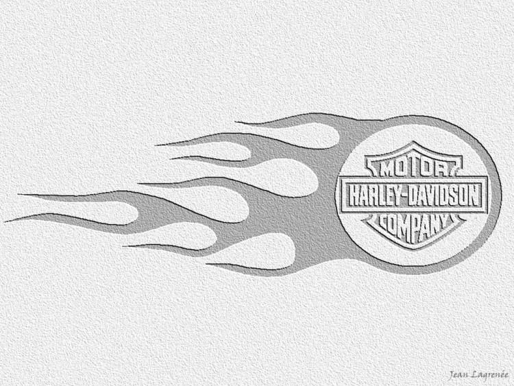 Fonds d'écran Motos Harley Davidson Logo Flaming Harley