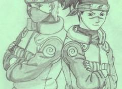 Fonds d'écran Art - Crayon Kakashi et Iruka (Naruto)