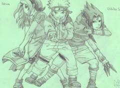 Fonds d'écran Art - Crayon Sakura, Naruto et Sasuke