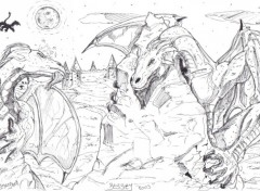 Wallpapers Art - Pencil ying yang dragons.