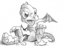 Wallpapers Art - Pencil Little Dragon
