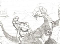 Fonds d'écran Art - Crayon Chasseur de dragon