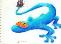 Fonds d'écran Art - Crayon Lézard et papillon
