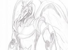 Fonds d'écran Art - Crayon guerrier dragon
