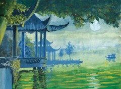 Wallpapers Art - Painting temple chinois