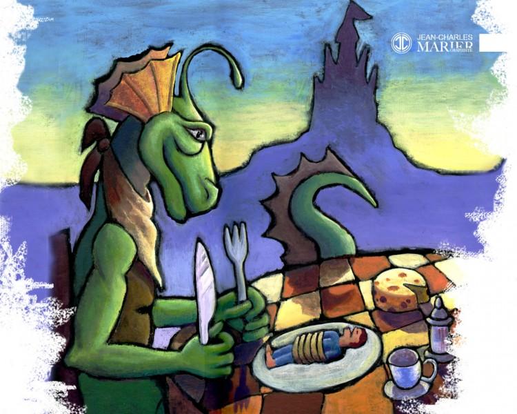 Fonds d'écran Art - Numérique Illustration Le dragon dîne avec Denis