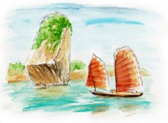 Wallpapers Art - Painting halong bay