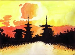 Wallpapers Art - Painting coucher de soleil sur les monuments de Nara