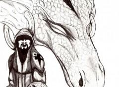 Fonds d'écran Art - Crayon Garde et Dragon