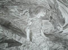 Fonds d'écran Art - Peinture enfer et paradis dragon