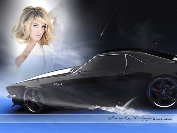 wallpapers cars wallpapers girls and cars pin up mustang by bewall. Black Bedroom Furniture Sets. Home Design Ideas