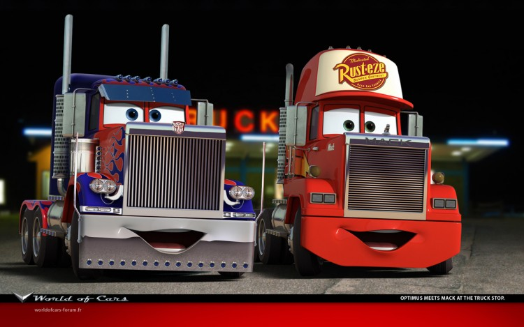 Wallpapers Cartoons Cars 1 and 2 Optimus meets Mack