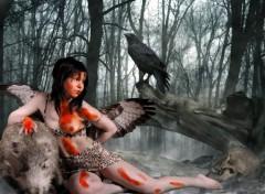 Fonds d'écran Erotic Art foret et ange