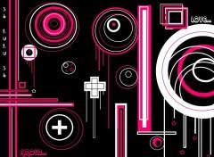 Fonds d'écran Art - Numérique abstrait noir blanc rose cercle croix
