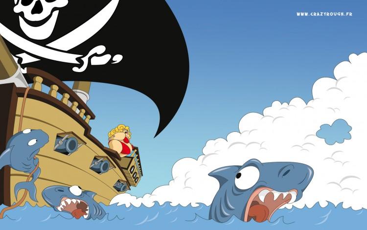 Fonds d'écran Humour Animaux Requins en panique !