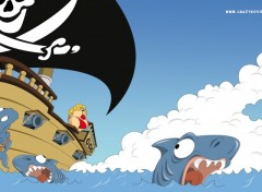 Wallpapers Humor Requins en panique !