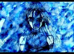 Fonds d'écran Art - Numérique dessin femme sexy par moi abstrait bleu en fond
