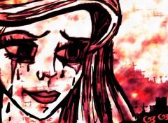 Fonds d'écran Art - Peinture dessin fille femme pleurs par moi portrait