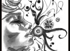 Fonds d'écran Art - Crayon Baiser Fleurie