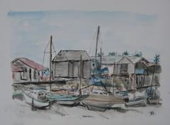 Fonds d'écran Art - Peinture Noirmoutier en l'ile, le port du patrimoine.