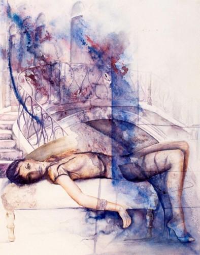 Fonds d'écran Art - Peinture Femmes - Féminité L'ATTENTE