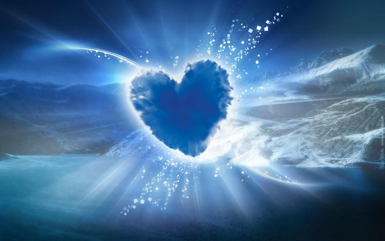 Fonds d'écran Art - Numérique Amour, amitié Coeur de Montagne