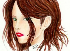 Fonds d'écran Art - Peinture Jeune femme aux yeux verts