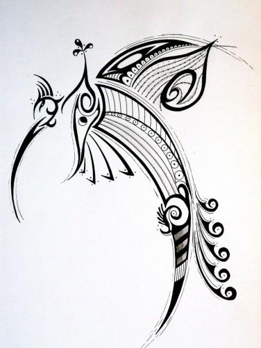 wallpapers art pencil wallpapers tattoos oiseau tribal. Black Bedroom Furniture Sets. Home Design Ideas