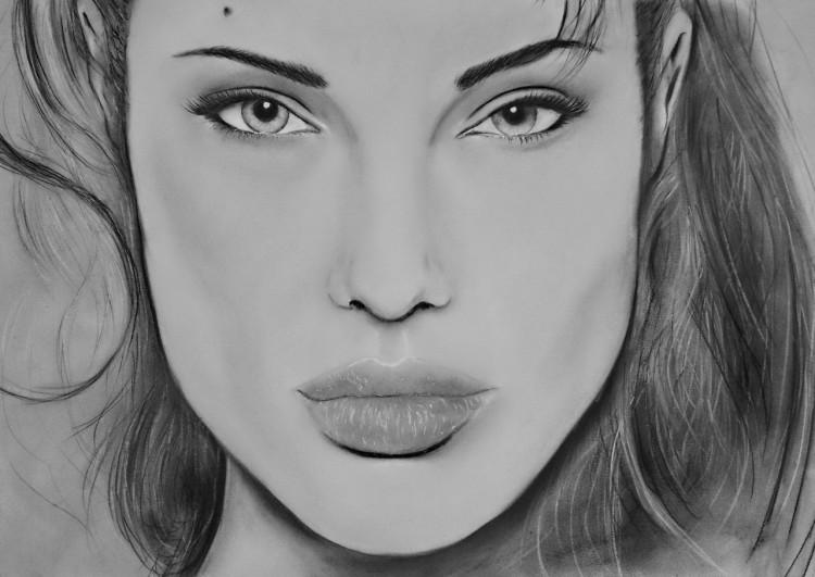 Wallpapers Art - Pencil Portraits Angelina Jolie Pastel