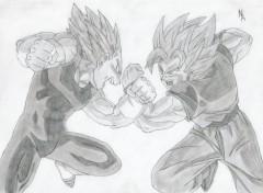 Wallpapers Art - Pencil Sangoku contre Vegeta