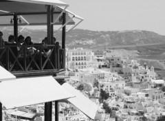 Fonds d'écran Constructions et architecture café suspendu a santorin