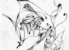 Wallpapers Art - Pencil Papillon N&B Tatoo