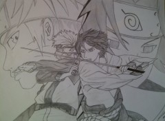 Wallpapers Art - Pencil Naruto vs Sasuke
