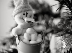 Wallpapers Objects Bonhomme de neige et son seau de boules
