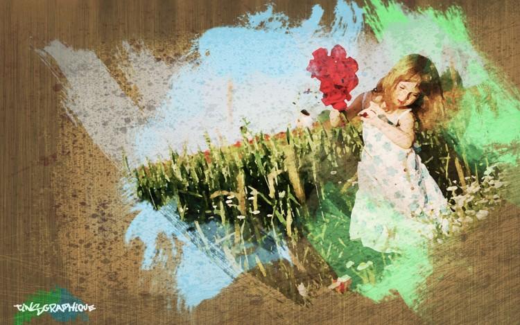 Wallpapers Art - Painting Graphics Petite fille aquarelle