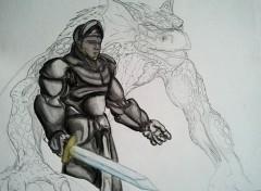 Wallpapers Art - Pencil Chevalier et Dragons