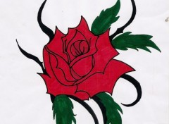 Art - Crayon Red rose tribal