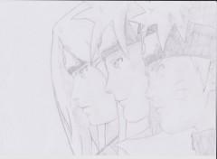 Art - Pencil naruto, minato, kushina ; Une lignée d'exception :D