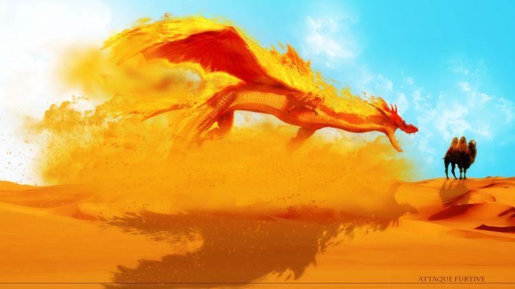 Fonds d'écran Fantasy et Science Fiction Créatures : Dragons ataque furtive
