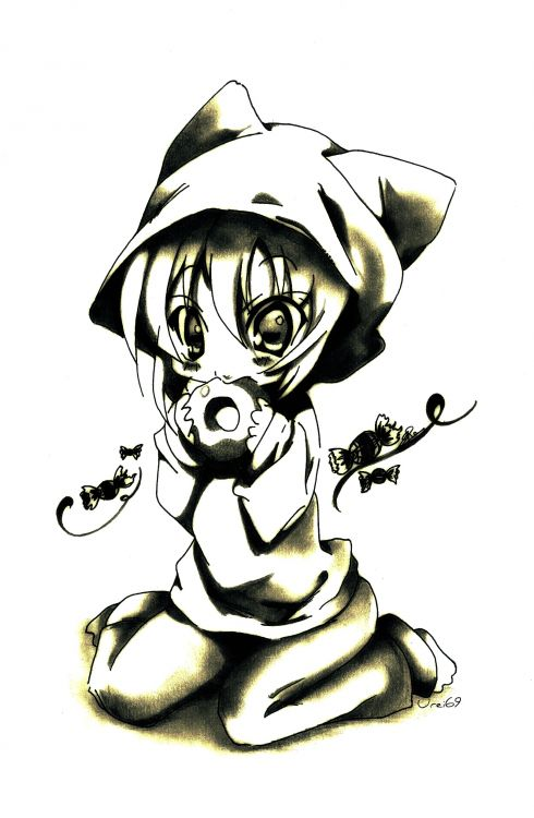 Wallpapers Art - Pencil Manga - Miscellaneous Chibi Neko Cakes !