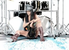 Digital Art Guitar-drums-fantasy-girl-style-different