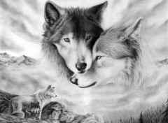 Art - Crayon Loups tendresse.