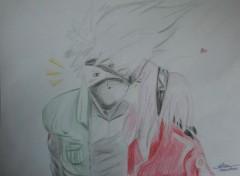 Art - Crayon Kakashi love Sakura