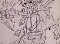 Art - Crayon Natsu en flamme de Fairy Tail